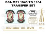BSA B31 1945 to 1954 Transfer Decal Set